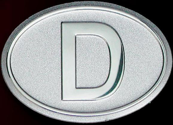 Germany Aluminum D Country Decal Badge