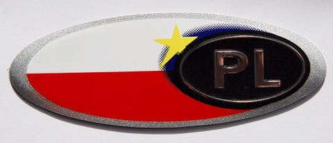 Polish Poland Badge with Flag
