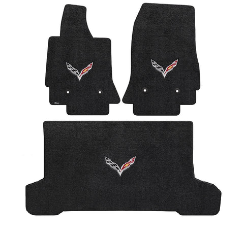 C7 Corvette Stingray (Convertible) Cargo and Foor Mat Set  - Lloyds Mats with C7 Crossed Flags: Jet Black