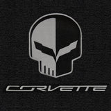 C7 Corvette Floor Mats - Lloyds Mats with Jake Skull Logo and Corvette Script: Jet Black