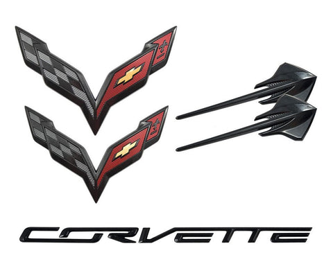 C7 CORVETTE STINGRAY 2014+ CARBON FLASH METALLIC EMBLEM PACKAGE