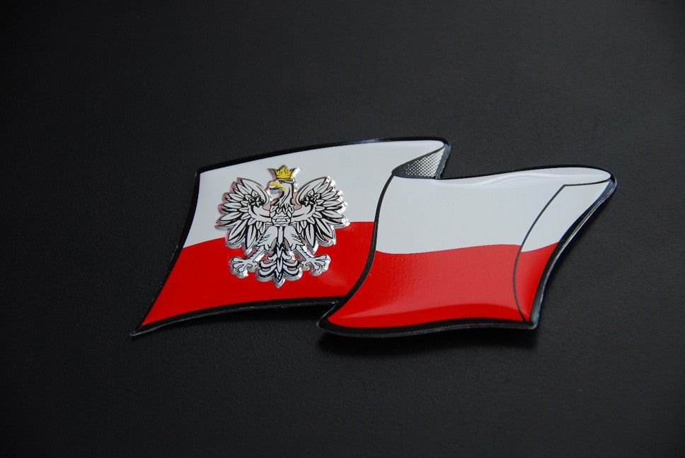 Poland Polska Badge Decal Sticker with Flag and Eagle