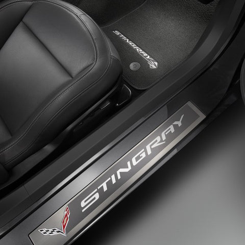 2014+ Corvette Stingray Door Sill Plates - Stingray Logo