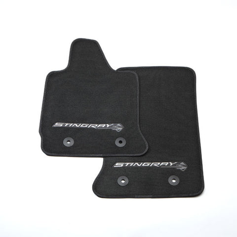 Corvette C7 Stingray Front Floor Mats with Gray Stingray
