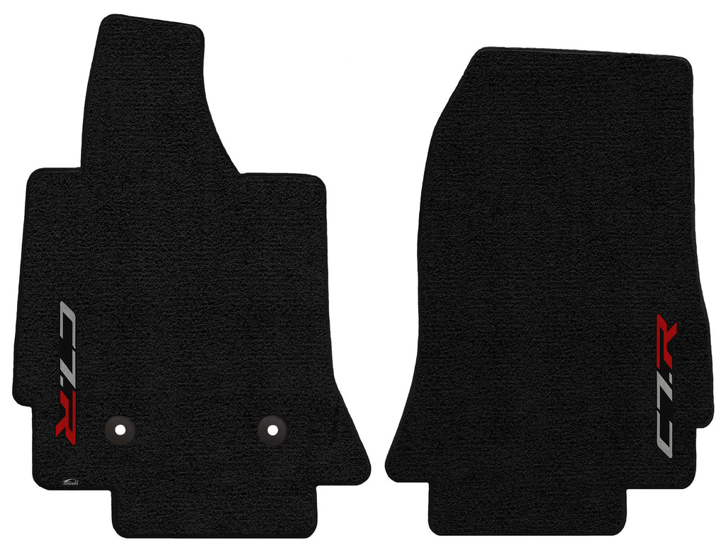 C7 Corvette Floor Mats - Lloyds Mats with C7R Script: Jet Black