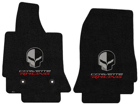 C7 Corvette Floor Mats - Lloyds Mats with Jake Skull Logo and Corvette Racing Script: Jet Black