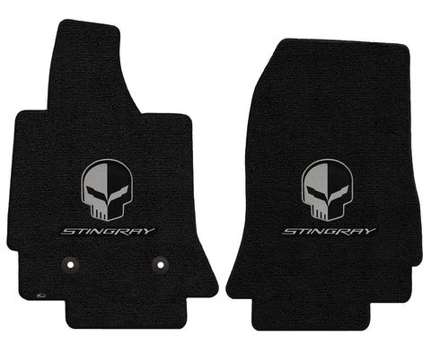C7 Corvette Floor Mats - Lloyds Mats with Jake Skull Logo and Stingray Script: Jet Black