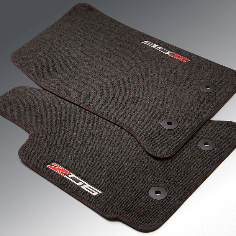 2014+ Corvette Z06 Front Floor Mats - Z06 Logo with Black w Red Stitching