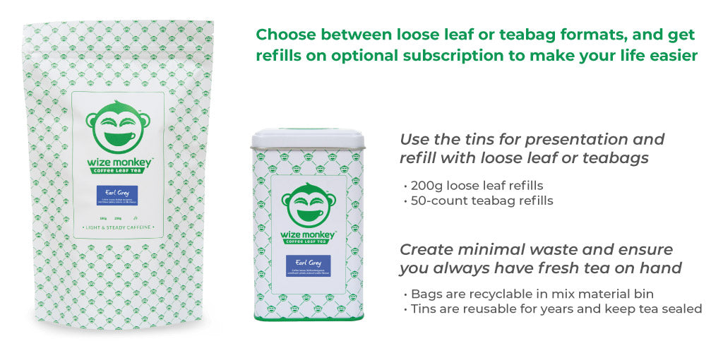 wize monkey coffee leaf tea loose leaf teabag format office program