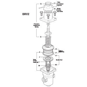 1/2 in  BRV2 Direct Operated Pressure Regulator Valve & Seat Assembly, F J L M