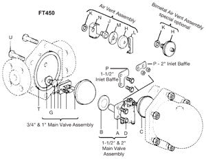 3/4  FT450 Float & Thermostatic Steam Trap Mechanism Assembly with Float, 14 bar, A B C D E F G