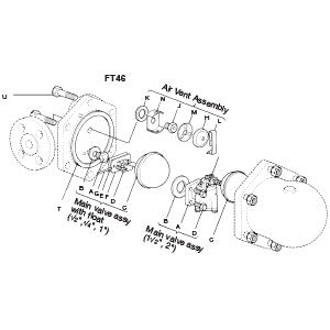 2 in  FT46 Float & Thermostatic Steam Trap Gasket Kit, (Set of 3), B K P R T