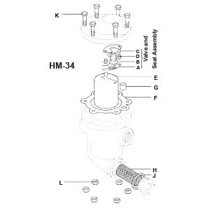 1/2, 3/4 in  HM-34/7 Inverted Bucket Steam Trap Mechanism Assembly, A B C D