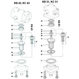 1 1/2 in  KY51 Direct Operated Temperature Regulator Valve & Seat Assembly, A B C D1 E L1 U