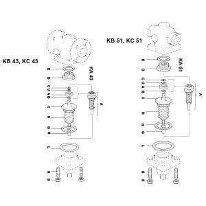 1-1/4  KB43/51 Direct Operated Temperature Regulator Valve Bellows & Push Rod Assembly, G H L N