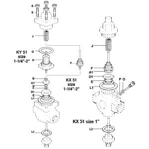 2 in  KY51 Direct Operated Temperature Regulator Valve & Seat Assembly, A1 B C D1 E L1 U