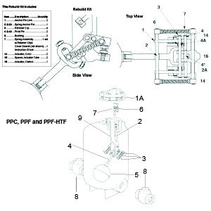 PPC / PPF / PPF-HTF Pressure Power Pump Motive Inlet Valve, Consists: Head, Stem, Seat & Gasket, 6