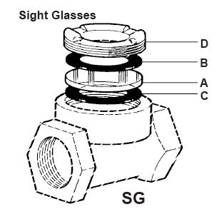SG & SGD Sight Glass with Top & Bottom Gaskets, A B C