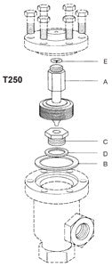 3/4 (T250)  T250 Balanced Pressure Thermostatic Steam Trap Element Set, Stainless Steel, Angle & Straightway, A B C D E