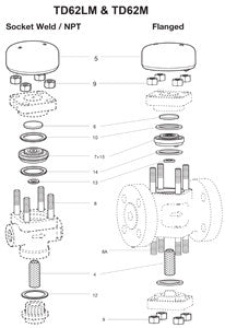 1/2 - 1 in  TD62,62L,TD62M,TD62LM Flanged Thermo-Dynamic Steam Trap Cover Studs & Nuts, 8, 9