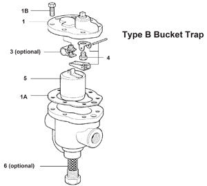 1/2, 3/4 in  B1X-125 Inverted Bucket Steam Trap Mechanism Assembly with Cover & Stainless Steel Bucket, 1 1A 4 5B