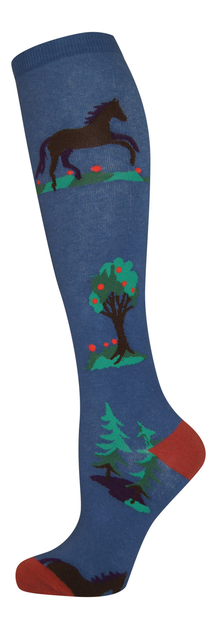"""Horses & Trees"" cotton-rich knee sock from lucky7socks.com"