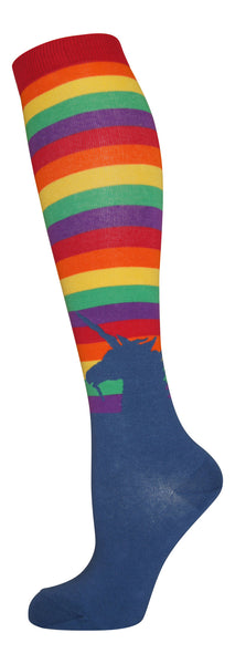 """Rainbow Unicorn"" cotton-rich knee sock from lucky7socks.com"