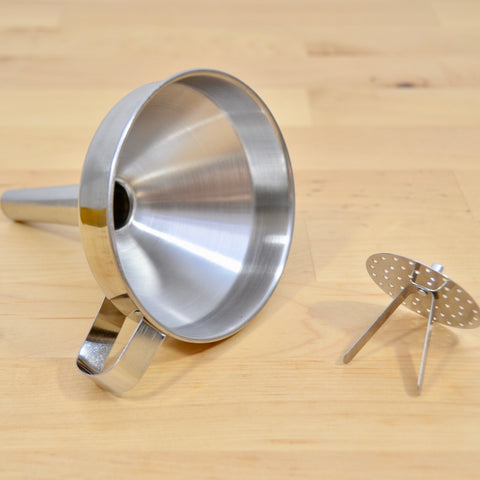 Funnel With Strainer, Stainless Steel - Karma Cultures