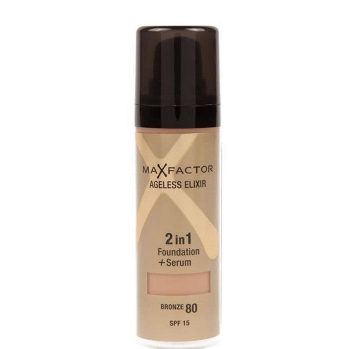 Max Factor Ageless Elixir 2in1 Foundation + Serum SPF 15 - # 80 Bronze 30ml | Beauty Wellbeing Makeup Discount Store