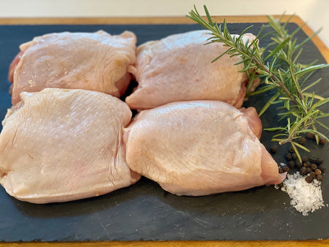 4-pack free range chicken thigh bone in skin on