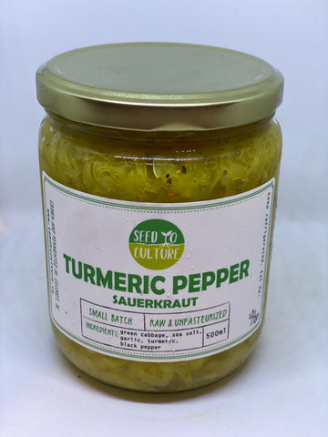 Turmeric Pepper Sauerkraut - Seed to Culture