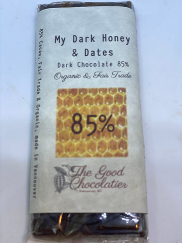 My Dark Honey & Date's Chocolate Bar (85% dark, organic and fair trade BC made)