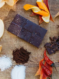 Chilli and Orange Peel Chocolate Bar (95% pure, organic and fair trade BC made)