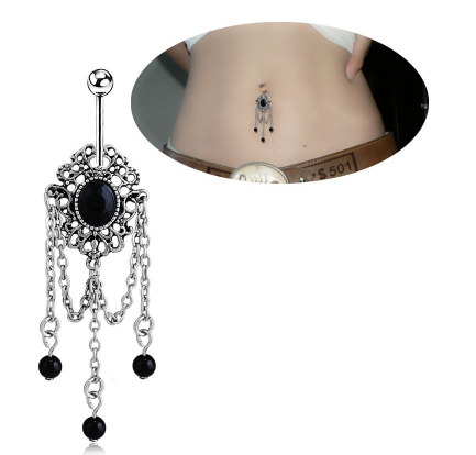 Black Rhinestone Tassels Dangle Belly Ring