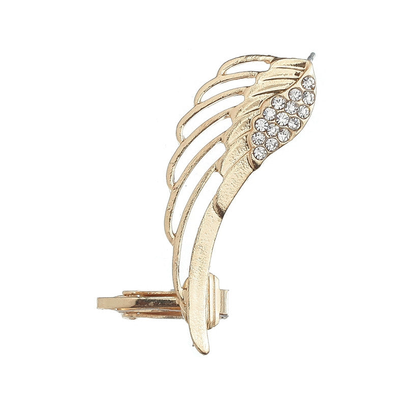 Angel Wing Gold Punk Rhinestone Clip Earring