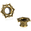 Antique Brass Rose Ear Plug Earring