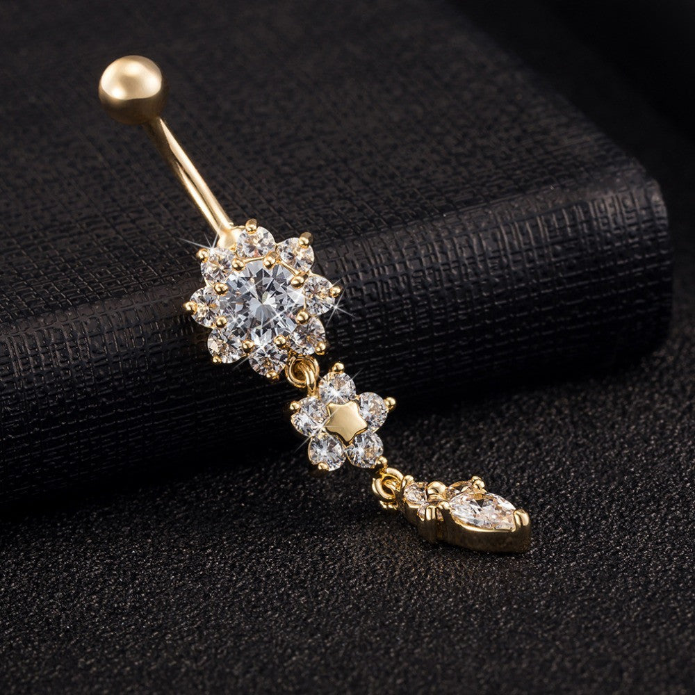 18K Gold Plated Dangle Flower Crystal Sexy Navel Ring