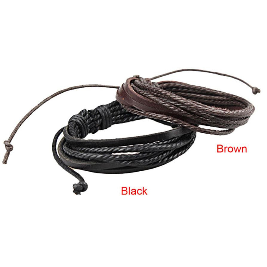 Braided Rope Design Leather Bracelet