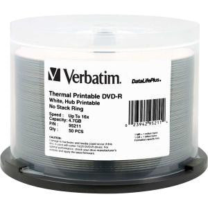 VERBATIM 50pk DVD-R 4.7GB 50Pk WHT Wide THERM