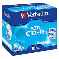 VERBATIM CD-R 10pk Jewel Case - 52x 700mb/80min P-Cyanine