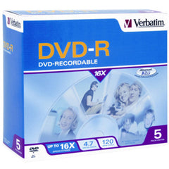 VERBATIM DVD-R 5pk Jewel Case - 4.7GB 16x