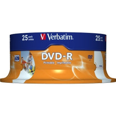 VERBATIM DVD-R 4.7GB 25Pk Spindle Wide Inkjet 16x