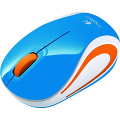 LOGITECH M187 WIRELESS MINI MOUSE - BLUE Advanced 2.4 GHz wireless pocket-size design plug-and-forget nano receiver that stays in your laptop