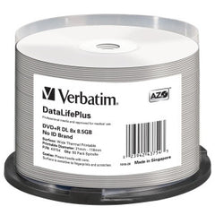 VERBATIM DVD+R DL 8.5GB 50Pk WHT THERM 2.4x