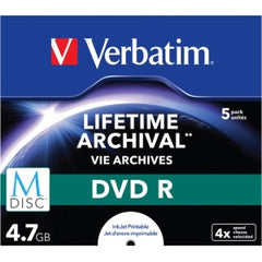 VERBATIM M-Disc DVD R 4.7GB 5Pk JC White IJ Printable 4x