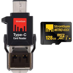 STRONTIUM TECHNOLOGY 128GB NITRO MICROSD WITH C TYPE CONNECTOR