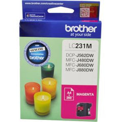 BROTHER LC231M INK CARTRIDGE MAGENTA 260 PAGE YIELD AT 5%