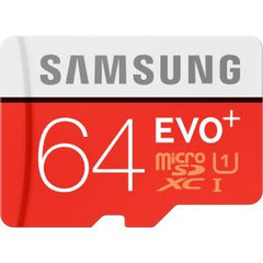 SAMSUNG MICRO SD 64GB EVO PLUS/W ADAPTER 80MB/S 10 YEARS LIMITED WARRANTY