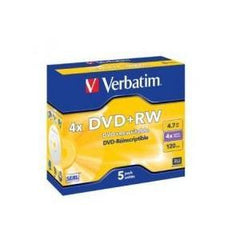 VERBATIM DVD+RW 5pk Jewel Case - 4.7GB 4x