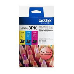 BROTHER LC73CL3PK Colour High Yield Twin Inkjet Cartridge Pack C/Y/M 600 pages @ 5%